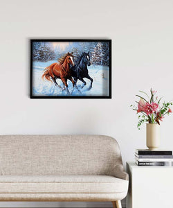 Two Horses in the Winter Forest DIY Diamond Painting Kit