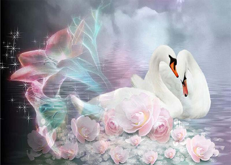 Two Swans on the Water DIY Diamond Painting Kit