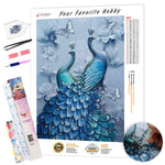 Load image into Gallery viewer, Two Blue Peacocks DIY Diamond Painting Kit