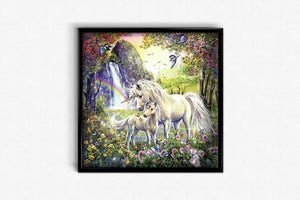 Unicorns in a Flowering Forest DIY Diamond Painting Kit