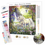 Load image into Gallery viewer, Unicorns in a Flowering Forest DIY Diamond Painting Kit