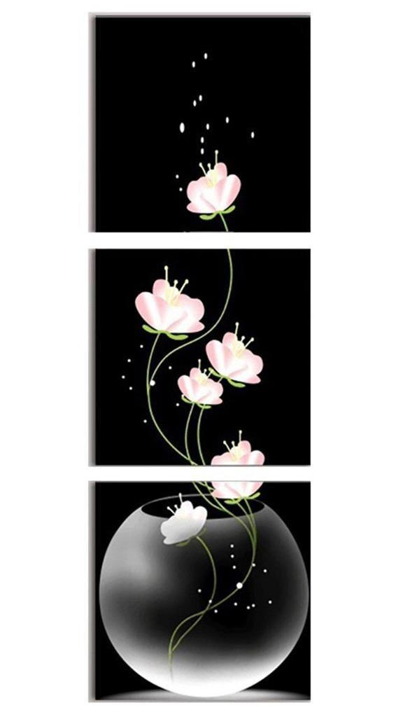 Vertical Flowers in Aquarium 3pcs/set DIY Diamond Painting Kit