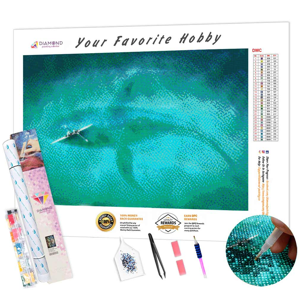 Whale under the Boat DIY Diamond Painting Kit