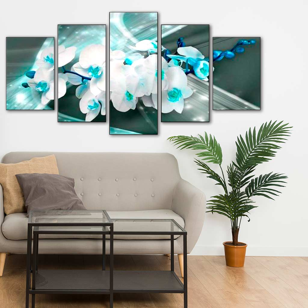 White Flowers with Turquoise 5pcs/set DIY Diamond Painting Kit