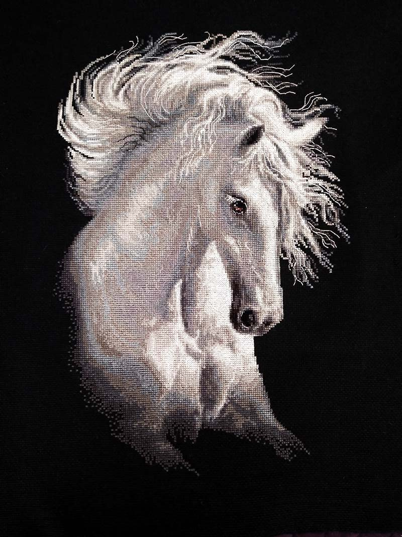 White Mane Horse DIY Diamond Painting Kit
