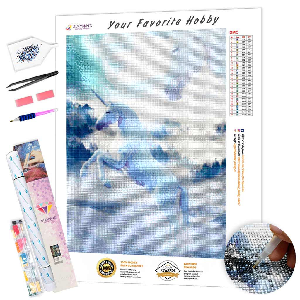 White Unicorns DIY Diamond Painting Kit