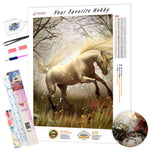 Load image into Gallery viewer, White Horse in a Scary Forest DIY Diamond Painting Kit