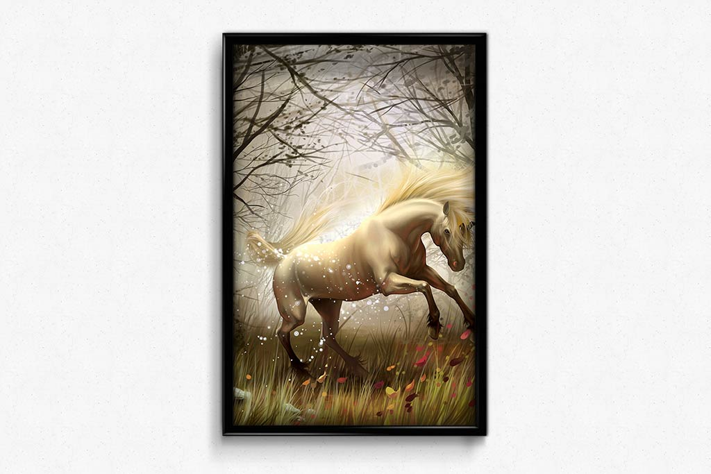 White Horse in a Scary Forest DIY Diamond Painting Kit