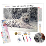 Load image into Gallery viewer, White Tiger in the Snow DIY Diamond Painting Kit