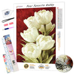 Load image into Gallery viewer, White Tulips DIY Diamond Painting Kit