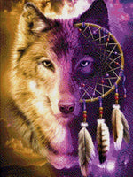 Load image into Gallery viewer, Wolf Feather DIY Diamond Painting Kit