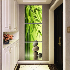 Vertical Multi-panel Stone Garden Foliage 3pcs/set DIY Diamond Painting Kit
