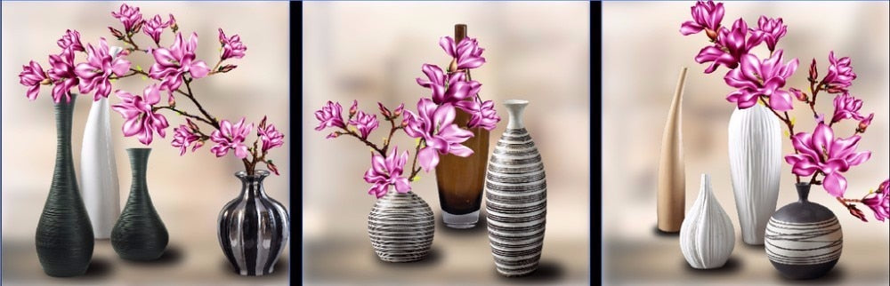 Floral Vase 3pc DIY Diamond Painting Kit