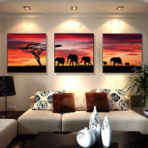 Elephants at sunset 3pc DIY Diamond Painting Kit