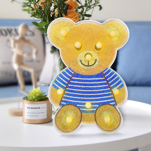 LED Lamp Light Bear in a Striped T-shirt DIY Diamond Painting