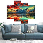 Load image into Gallery viewer, Red Clouds on the Water 4pcs/set DIY Diamond Painting Kit