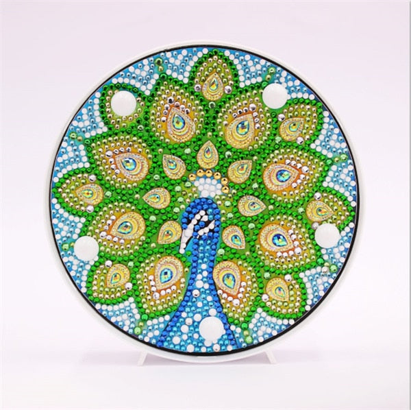 Green Peacock Tail Round LED Lamp DIY Diamond Painting