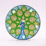 Load image into Gallery viewer, Green Peacock Tail Round LED Lamp DIY Diamond Painting