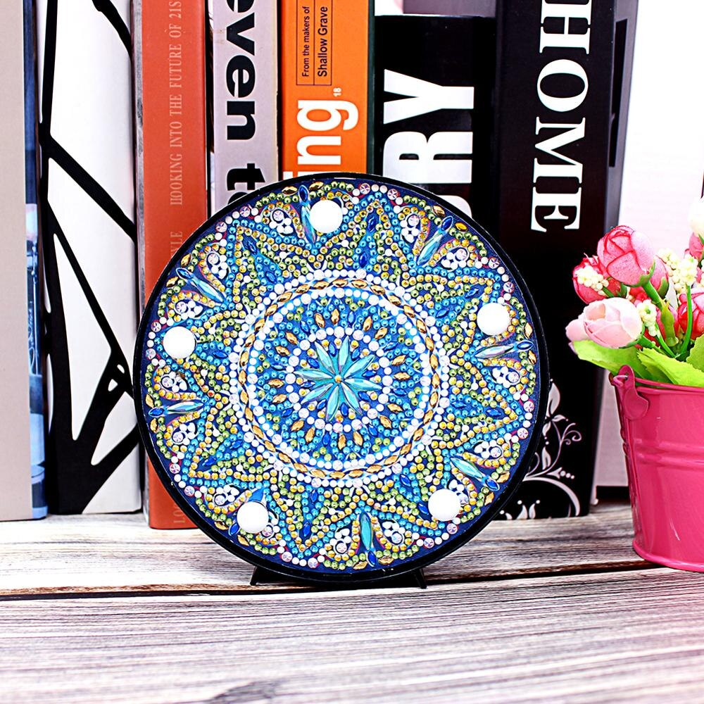 Blue Yellow Mandala LED Round Lamp DIY Diamond Painting