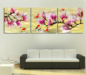 Multi-picture combination Fish under the Flowers 3pcs/set DIY Diamond Painting Kit