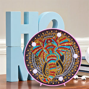 Holiday Elephant Round LED Lamp DIY Diamond Painting