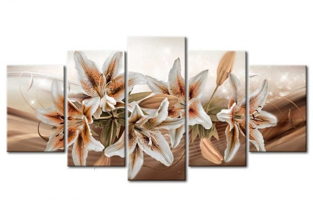 Sepia Flowers of Happiness 5pcs/set DIY Diamond Painting Kit