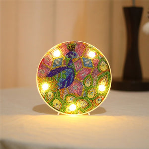 Round LED Lamp Peacock Paints DIY Diamond Painting