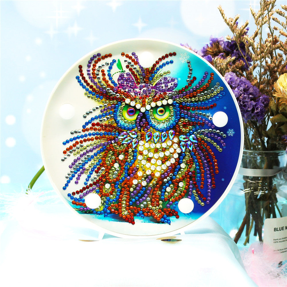 Wise Owl LED Light Round Lamp DIY Diamond Painting