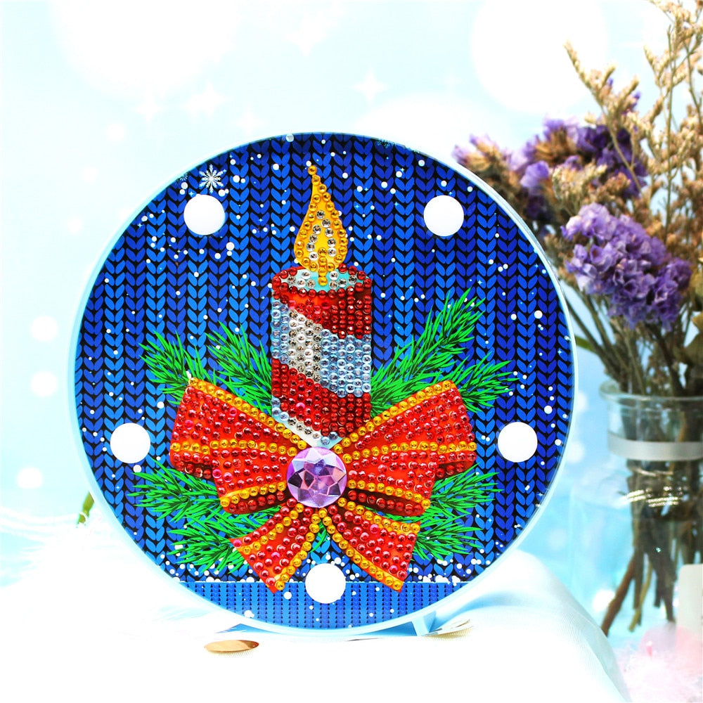 Christmas Сandle Round LED Lamp DIY Diamond Painting