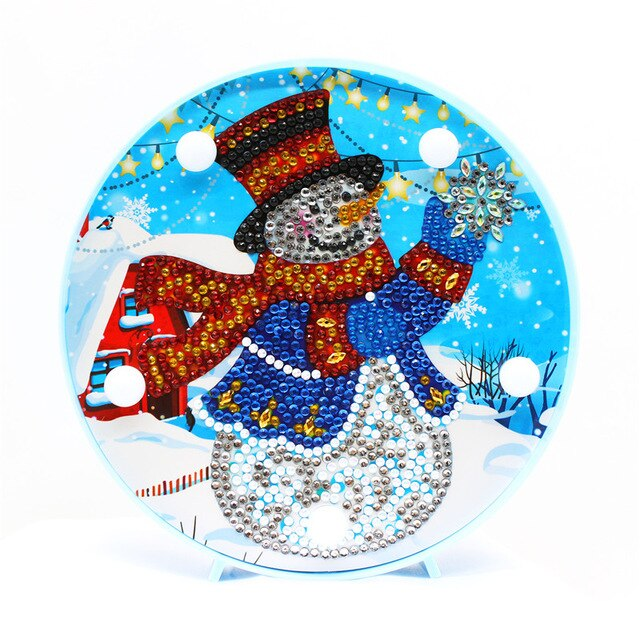 LED Lamp Snowman at the Lodge DIY Diamond Painting