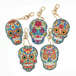 Load image into Gallery viewer, Painted Skulls Decorative Keyring DIY Diamond Painting