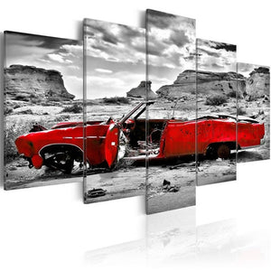 Black White Red Broken Car 5pcs/set DIY Diamond Painting Kit