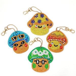 Funny Mushrooms Decorative Keychain DIY Diamond Painting