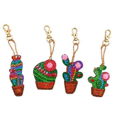 Decorative Keychain Cactuses in Pots DIY Diamond Painting