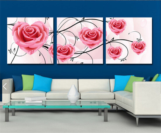 Bouquet of Roses Hearts сombination 3pcs/set DIY Diamond Painting Kit
