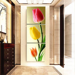 Load image into Gallery viewer, Vertical combination Three Tulips 3pcs/set DIY Diamond Painting Kit