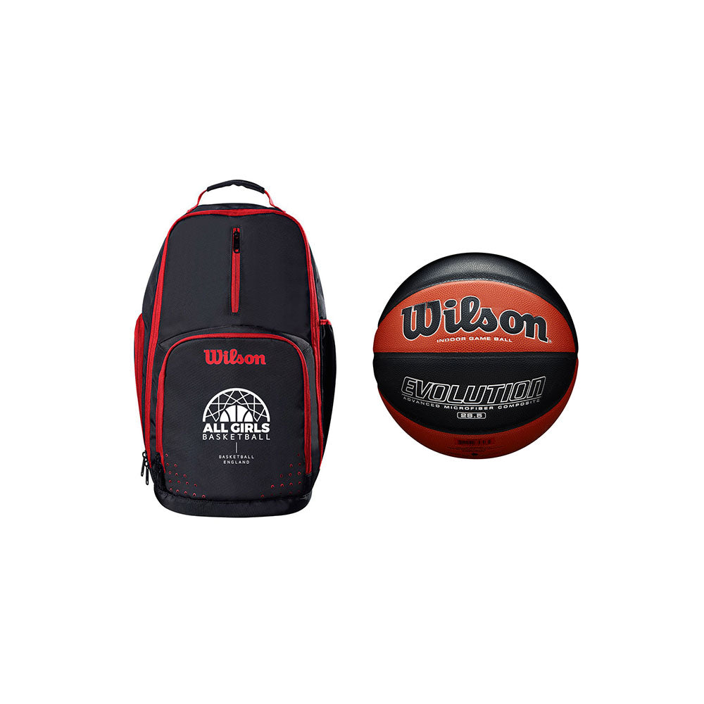 Wilson Evolution All Girls Backpack with Wilson Basketball England Evolution Official Game Ball