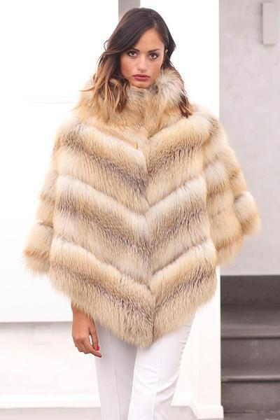 983211a0a34 Fashion Fur Coat Jacket Fox Poncho