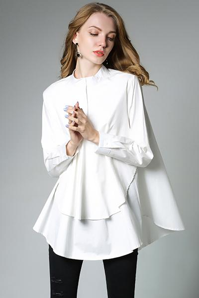 Plus Size Casual Long Sleeve Solid Shirt