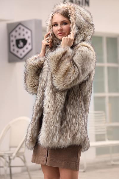 Long Fox Fur Faux Fur Coat