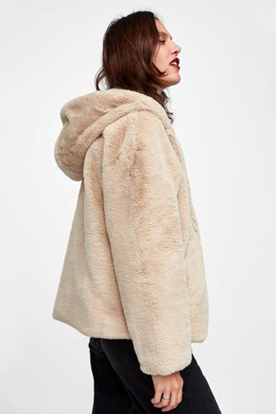 Faux Fur Solid Hooded Coat