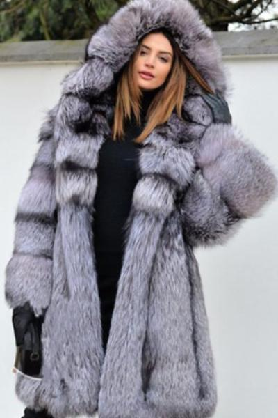 eb81365359f Faux Silver Fox Fur Coat