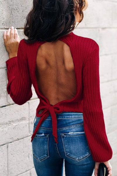 Sexy Open Back Strap High Collar Long Sleeve Solid Color Sweater Crop Top