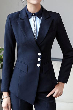 Long Sleeve Asymmetrical Lapel Blazer