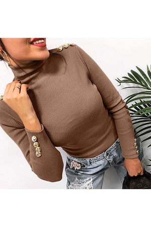 High Neckline Solid Regular Buttons Sweaters