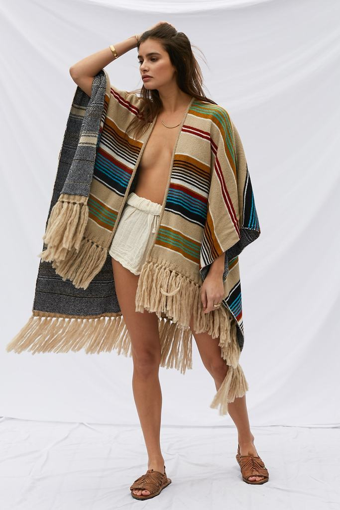 Two-Size Wearable Spring Autumn Bohemian Sweater Poncho