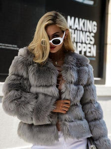 Long Sleeve Collarless Fur Coats