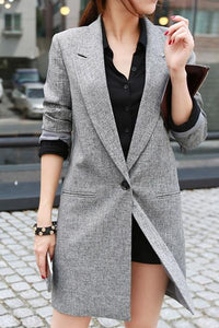 Grey One Button Lapel Blazer