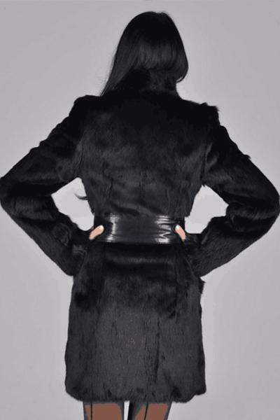 Faux Fur Long Sleeve High Neckline Sashes Pockets Fur Coats