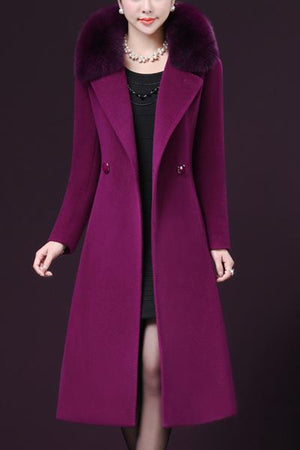 Unremovable Faux Fur Collar Wrap Coats